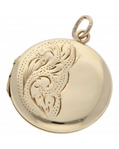 Pre-Owned 9ct Yellow Gold Half Patterned Round Locket Pendant