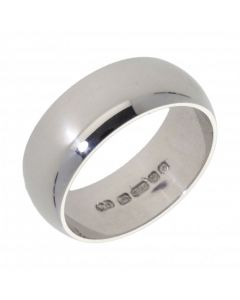 Pre-Owned 9ct White Gold 8mm Wedding Band Ring