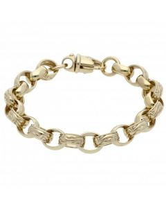 "New 9ct Gold 8"" Pattern & Polished Oval Belcher Bracelet 27g"
