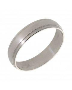 Pre-Owned Palladium 5mm Ridged Wedding Band Ring