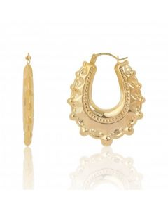 New 9ct Yellow Gold Oval Traditional Creole Hoop Earrings