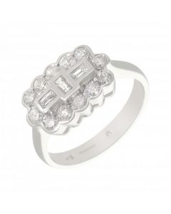 New 18ct White Gold 0.75ct Diamond Cluster Ring