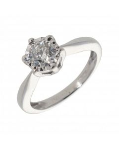Pre-Owned 18ct White Gold 0.50 Carat Diamond Solitaire Ring