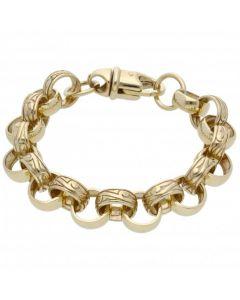 New 9ct Gold 8.5Inch Pattern & Polish Belcher Bracelet 1.1oz