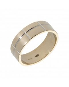 Pre-Owned 18ct White Gold 8mm Ridged Wedding Band Ring