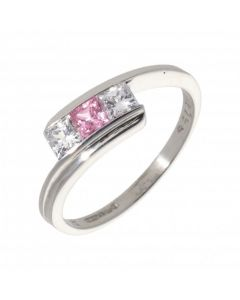 Pre-Owned 9ct White Gold Pink & White Cubic Zirconia Twist Ring