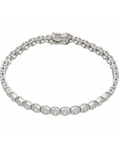 Pre-Owned 9ct White Gold Cubic Zirconia Hex Tennis Bracelet