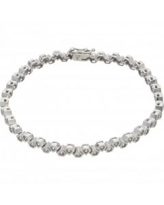 Pre-Owned 9ct White Gold 7.5 Inch Cubic Zirconia Geo Bracelet