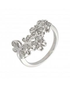 Pre-Owned 9ct White Gold Diamond Butterflies & Flowers Ring