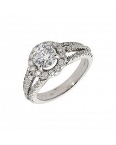 Pre-Owned 18ct White Gold 1.87 Carat Diamond Halo Ring