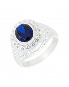 New Sterling Silver Cubic Zirconia Oval Dress Ring