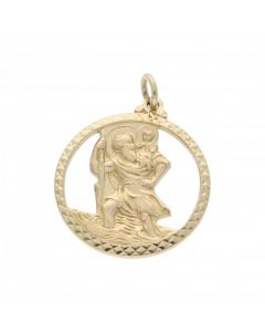 Pre-Owned 9ct Yellow Gold Cutout St.Christopher Pendant