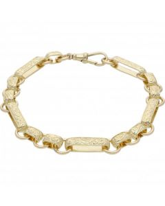 New 9ct Gold 9 Inch Patterned Long Link & Oval Bracelet 23g