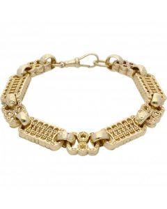 New 9ct Yellow Gold 9.5 Inch Stars & Bars Mens Bracelet 1.3oz