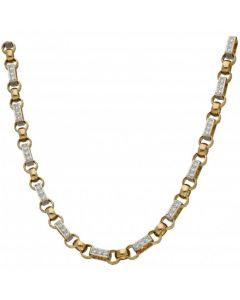 New 9ct Gold Cubic Zirconia Figaro & Belcher Heavy Chain 2.6oz