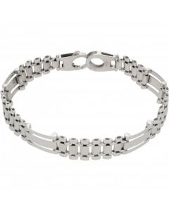 Pre-Owned 9ct White Gold 7.5 Inch Fancy Link Bracelet