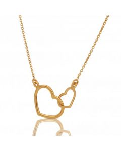 New 9ct Yellow Gold Open Double Heart 16 Inch Necklace