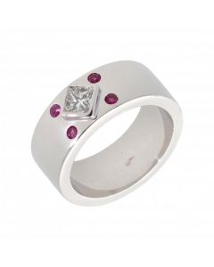 Pre-Owned 18ct White Gold Pink Sapphire & Diamond Band Ring