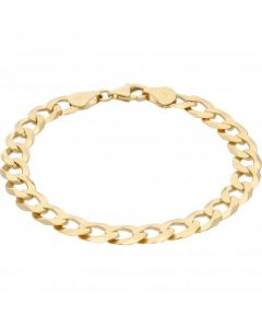 New 9ct Yellow Gold 8 Inch Solid Curb Link Bracelet 11.5g