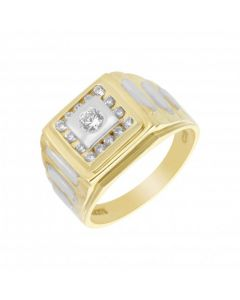 New 9ct Yellow Gold Cubic Zirconia Square Head Signet Ring