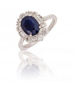 New 9ct White Gold Sapphire & Diamond Vintage Style Cluster Ring