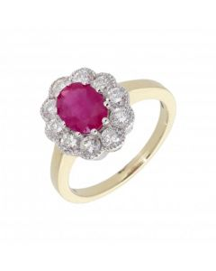 New 9ct Yellow & White Gold Ruby & Diamond Oval Cluster Ring