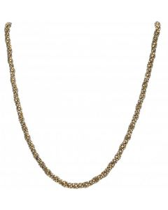 Pre-Owned 9ct Yellow & White Gold Box Link Twist Chain Necklace