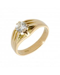 Pre-Owned 18ct Gold 0.94ct Gents Diamond Solitaire Signet Ring