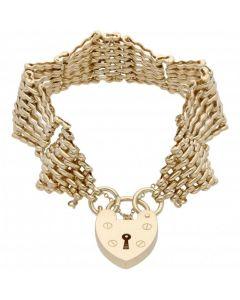 Pre-Owned 9ct Yellow Gold Fancy Fan Link Gate Bracelet