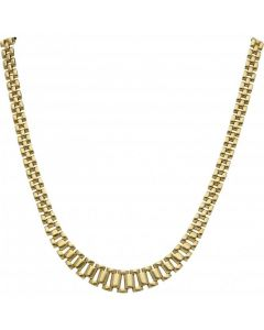 Pre-Owned 9ct Gold 16 Inch Graduated Brick Link Necklet