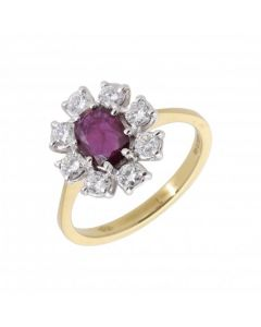 New 18ct Yellow Gold Oval Ruby & Diamond Cluster Ring