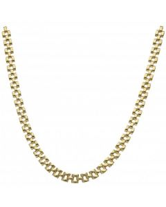 Pre-Owned 9ct Yellow Gold 16 Inch Hollow Brick Link Necklet