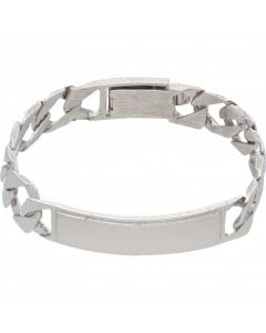 Pre-Owned 9ct White Gold 5 Inch Curb Link Identity Bar Bracelet