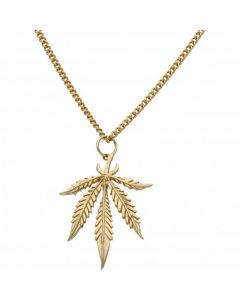 Pre-Owned 9ct Yellow Gold Leaf Pendant & Curb Chain Necklace