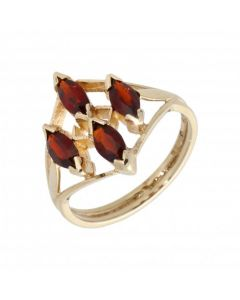 Pre-Owned 9ct Yellow Gold 4 Stone Marquise Garnet Dress Ring