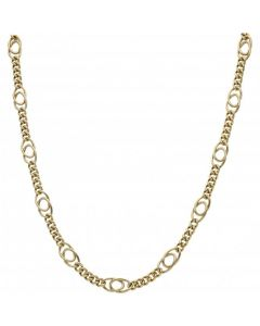 Pre-Owned 9ct Gold Long & Short Fancy Curb Link Chain Necklace