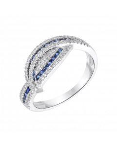 New 18ct White Gold Sapphire & Diamond Cross Over Ring