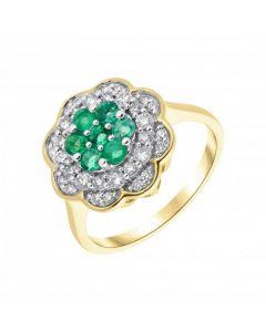New 9ct Yellow Gold Emerald & Diamond Round Cluster Ring
