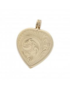 Pre-Owned 9ct Yellow Gold Patterned Heart Locket Pendant