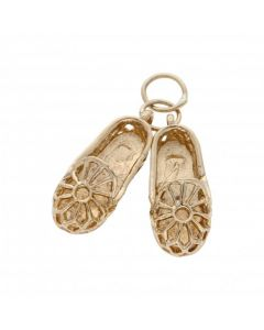 Pre-Owned 9ct Yellow Gold Filigree Slippers Charm
