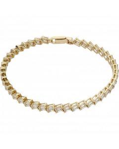 Pre-Owned 9ct Gold Baguette Cubic Zirconia Tennis Bracelet
