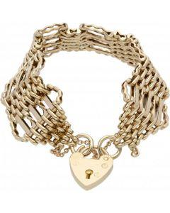 Pre-Owned 9ct Yellow Gold Fancy 7 Bar Gate Bracelet