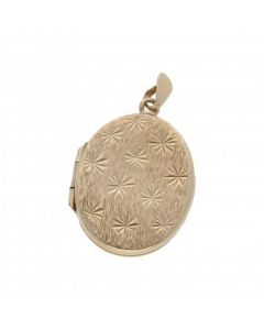 Pre-Owned 9ct Yellow Gold Star Patterned Oval Locket Pendant
