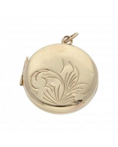 Pre-Owned 9ct Yellow Gold Part Patterned Round Locket Pendant