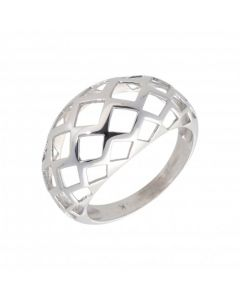 Pre-Owned 9ct White Gold Cutout Domed Dress Ring
