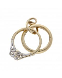 Pre-Owned 9ct Yellow Gold Bridal Ring Set Charm