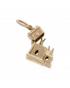 Pre-Owned 9ct Yellow Gold Opening Cricket Clubhouse Charm
