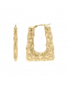 New 9ct Yellow Gold Rectangle Patterned Creole Earrings