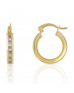 New 9ct Yellow Gold Cubic Zirconia Set Medium Hoop Earrings
