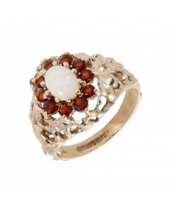 Pre-Owned 9ct Yellow Gold Garnet & Opal Cluster Ring